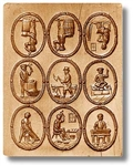 9 Pictures - Occupations In 1800 Springerle Cookie Mold