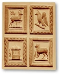 4 Pictures - Chamois Vogel  Springerle Cookie Mold