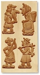 Speculatius Mold - 4 Pictures - Four Humorous Figures Spekulatius Cookie Mold
