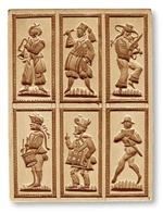 6 Pictures: Musicians springerle cookie mold, 122 mm x 163 mm / 4.8 in x 6.4 in