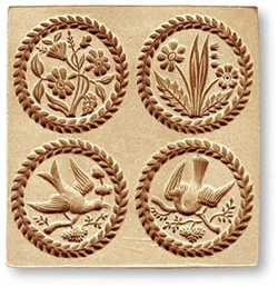 4 Pictures: flowers, birds.. springerle cookie mold 8954 Anis-Paradies