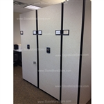 Used High Density Storage System by Spacesaver this is a large system that was originally installed for legal size file folders but can be easily redesigned and modified for record file boxes or parts storage.