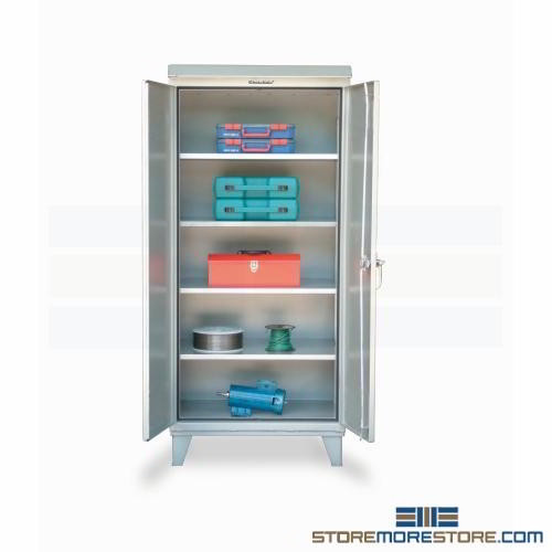 Weatherproof Storage Cabinet Outdoor Sloped Top Locking Doors Stronghold
