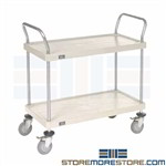 Plastic 2 Shelf Carts NSF Mobile Storage Racks Nexel Utility Rolling Shelving