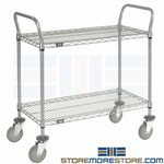 2 Tier Wire Carts with Wheels Rolling Shelf Racks Mobile Caster Storage