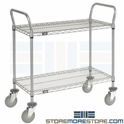 2 Tier Wire Rolling Carts Utility Shelving Mobile Racks NSF Nexel Clean Storage