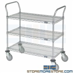 3 Shelf Wire Utility Carts NSF Food Service Restaurant Cafeteria Storage Racks
