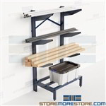 Horizontal Bar Storage Rack Pipe Lumber Cantilever Angled Arm Shelves PVC Nexel