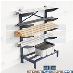 Bar Stock Storage Rack Pipe PVC Tubing Horizontal Shelves Slanted Arms Nexel