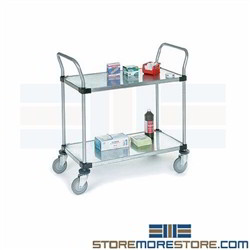 Steel Galvanized Solid 2 Shelf Mobile Carts on Wheels NSF Nexel Rolling Storage