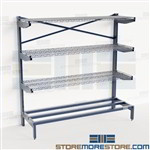 Wire Cantilever Shelves Dry Goods Storage Rack Cooler Shelving Food Supplies