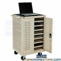 iPad Charging Cart Chromebook Electric Power Station 12 Tablets Locking Doors