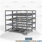 Angled Gravity Shelving Boxes Flow FIFO Angled Roller Tote Racks Storage Nexel
