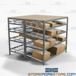 Gravity Flow Shelving Storage Picking Racks Angled Shelf Totes Cartons Nexel
