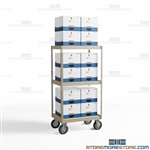 File Box Transport Cart Racks Wheels Rolling Archival Record Shelving Mobile