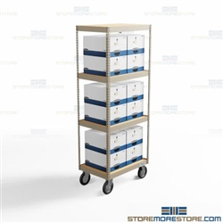Mobile File Box Shelving Carts Wheeled Dolly Racks Archival Boxes on Wheels