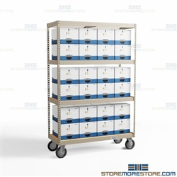 Record Box Shelving Carts Rolling Shelving Dollies Storing Archival Boxes Wheels