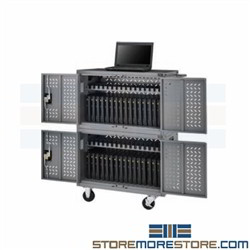 Laptop Charging Station Classroom Electric Tablet Cart Holds 32 Stacking Locking