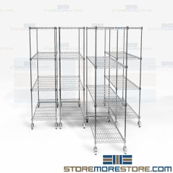 Chrome Wire Pull-Out Shelves Storage Racks Less Space Storeroom Supply Nexel NSF