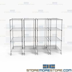 "Chrome Finish High Density Rack System Wire Shelving 48"" Wide x 24"" Deep Nexel"