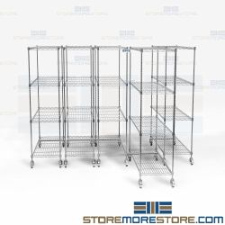 Silver Wire Gliding Storage Systems Shelving Racks Pullout Shelf Carts on Wheels