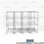 Mobile Wire Roll-out Shelving Silver Storage Rack Stacks Saves Storage Space