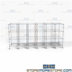 Wire Sliding Mobile Storage Silver Rolling Compact Racks Moving Aisle Shelving