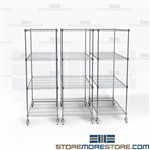 Silver Finish Compacting Storage System Wire Shelving Pull-Out Shelf Racks Nexel