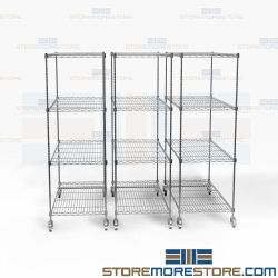 Zinc Wire Space Saving Racks Storage Shelving Pullouts Rolling Mobile Carts NSF