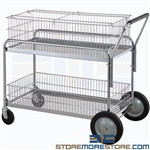 Mail Distribution Rolling Filing Carts Wire Chrome Hanging File Basket Nexel