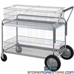 Mail Office File Folder Mobile Carts Deluxe Wire Chrome Basket Transport Nexel