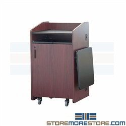 Deluxe Rolling Lectern Cabinet Desk Podiums for Multimedia Audio Visual Storage