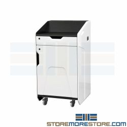 High Tech Mobile Lecterns Portable Podiums with Cooling Fan & Locking Doors