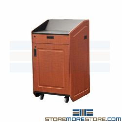 Multimedia Mobile Lecterns Presidential Stand Cabinet Podium with Cooling Fan