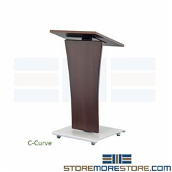 Portable Modern Lecterns Mobile Speaker Pulpit Presentation Podium with Wheels