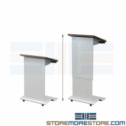 Height Adjustable Mobile Lecterns Push Button ADA Accessible Speaker Podium AVFI