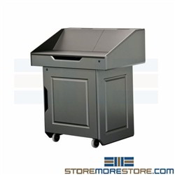Service Desk Rolling Podium Mobile Cabinet Lectern Storage Locking Doors AVFI