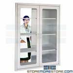 Pass-Thru OR Stainless Cabinets Surgical Prep Wall Storage Shelves Glass Doors