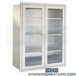 Stainless Medical Cabinets OR Glass Door Surgical Storage Recessed In Wall