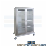 Stainless Surgical Supply Carts Glass Door Cabinet Hospital Operating Room