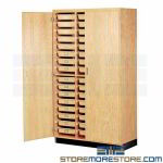 Student 48 Drawer Storage Cabinet Lab Furniture Plastic Trays Locking Doors