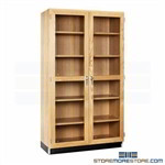 Wood Lab Cabinet Glass Doors Storage Shelves Adjustable Locking School Furniture