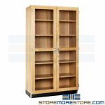 Glass Door Lab Cabinet Hardwood Storage Showcase Locking Shelves Solid Oak