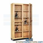 Microscope Storage Cabinet Laboratory Furniture Holds 30 Scopes Oak Hardwood