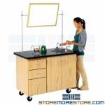 Rolling Instructor Desk Storage Counter Cabinet on Wheels Schoolroom Furniture