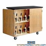 Microscope Storage Cabinet Rolling Wheels Lockable Chemistry Science Furniture