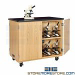 Microscope Charging Station Cabinet Rolling Wheels Chemistry Science Furniture