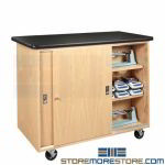 Rolling Lab Storage Cabinet Classroom Counter Locking Doors School Furniture