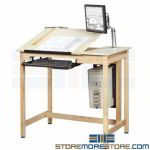 Tilt Drawing Table Adjustable Top Draftsman Bench Architect Workbench Furniture