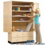 Maple Storage Drawer Cabinet Hinged Doors School Solid Wood Furniture